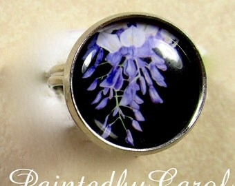 Wisteria Ring, Purple Wisteria Jewelry, Ring with Wisteria, Jewelry with Wisteria, Wisteria Gifts, Gifts with Wisteria