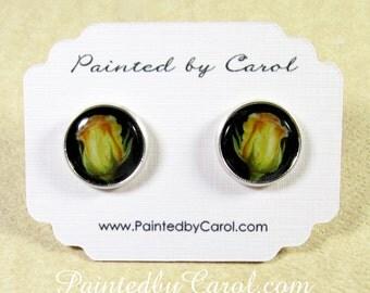Yellow Rosebud Earrings, Yellow Rosebud Jewelry, Yellow Rose Studs, Yellow Rose Earrings, Yellow Rose Jewelry, Rose Wedding Earrings