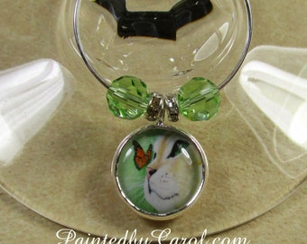Cat Wine Charms - Yellow Tabby Cat and Monarch Butterfly Wine Charms