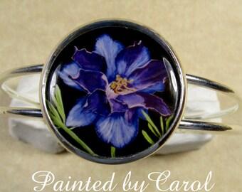 Larkspur Bracelet, Purple Larkspur Jewelry, Larkspur Cuff, Larkspur Gifts, July Birthday Gift, Jewelry with Larkspur, Bracelet with Larkspur