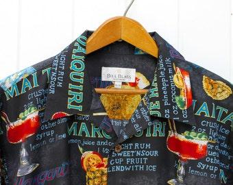 Bill Blass Men's Wear Vintage Hawaiian Shirt Medium Shirt Daiquiri Mai Tai Margarita Blue Hawaii Chi Chi Pina Colada 50s 60s Cocktails Beach