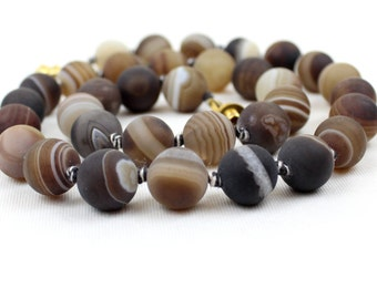 """12mm Banded Agate Necklace 12 mm Brown Striped Agate 20"""" Hand Knotted Frosted MapenziGems"""