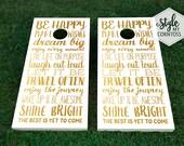 Wedding Cornhole Set - Be Happy - Gold Shine - Backyard Party Baggo