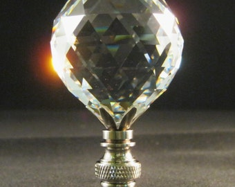 Lamp Finial-Faceted Leaded Crystal Ball**Satin Nickel Base**