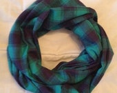 Navy Teal Flannel Infinity Scarf