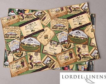 Wine Label Place Mats, Vineyard Place Mats, Wine Theme Decor, Vineyard Decor, Set of 6
