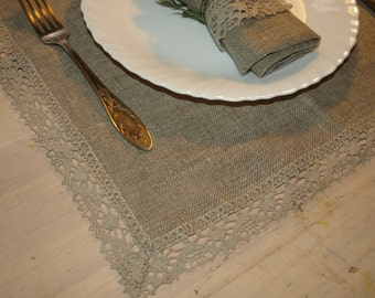 """Linen Napkins Set of 6 15""""x15"""" Natural Grey with Linen Lace Washed Vintage Look"""