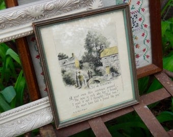 To A Friend Picture, Edgar Guest, Buzza Company, Craftacres, Watercolor, Country Cottage, Colorized Picture, Vintage Picture, GreenFramedArt