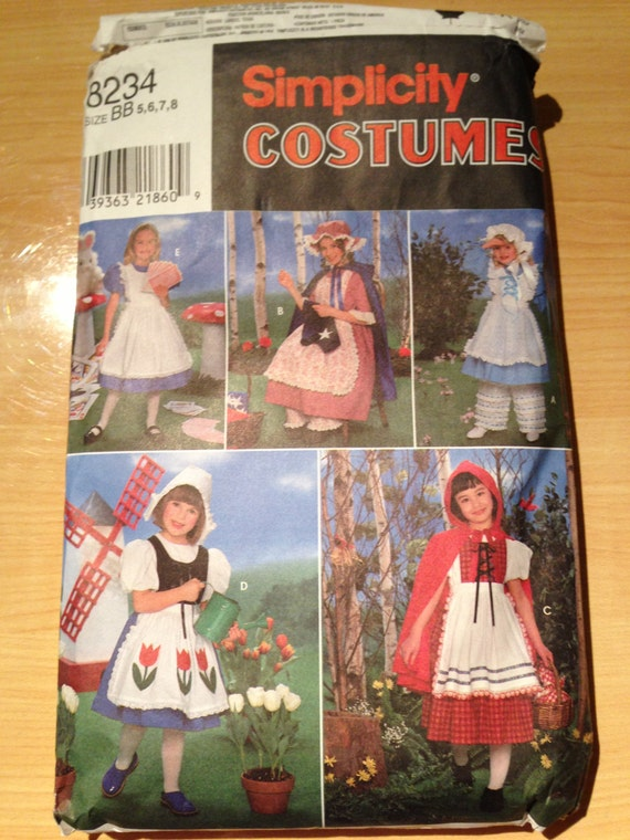 Simplicity 8234 Sewing Pattern Girl's Costume Alice in Wonderland, Little Red Riding Hood, Bo Peep, Betsy Ross and Dutch Girl Size 5-8