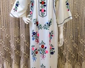 Beautiful late 1960's crewl embroidered tunic maxi dress