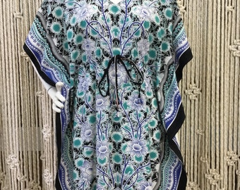 Incredible 1970's blue and green block print floral caftan