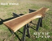 Live Edge Console Table, Finished Black Walnut Wood Slab, Behind the Sofa Table, Natural Edge Buffet Table, Bar Top, Counter Top, Shelf 7014