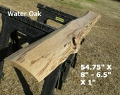 Live Edge Bar Top, Finished Water Oak Wood Slab, Behind the Sofa Table, Natural Edge Shelving, Book Shelf, Foyer Table, Top Shelf 4527