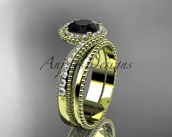 14kt yellow gold halo diamond engagement set with a Black Diamond center stone ADLR379S