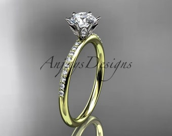 "14kt yellow gold diamond unique engagement ring, wedding ring with a ""Forever One"" Moissanite center stone ADER145"