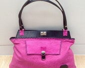 One-off, handcrafted handstitched fuchsia pink Italian lambskin leather shoulder bag SALE