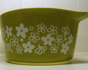 Vintage Pyrex Spring Blossom Crazy Green Dish