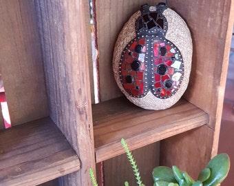Mosaic Ladybug Rock Paperweight / Decorative Rock / Home Decor Gazing Garden Stone