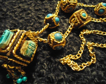 Vintage 1960 Gold Tone and Turquoise Colored Boho Gypsy Necklace