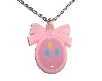 Pinkie Pie Cutie Mark Necklace, Friendship is Magic, Kawaii Pastel Cameo Necklace