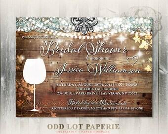 Rustic Bridal Shower Invitation Vineyard Wedding Shower Invite Wine Tasting Bridal Shower Invite DIY Printable Bridal Shower Wine Invite