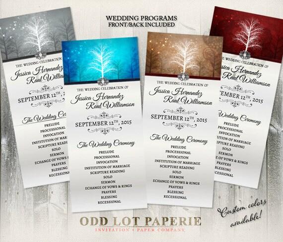 winter wonderland wedding programs various colors winter wedding