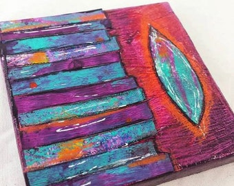 Original Miniature Acrylic and Ink Mixed Media Collage,  Orange, Purple, Teal Abstract,  OOAK canvas with easel