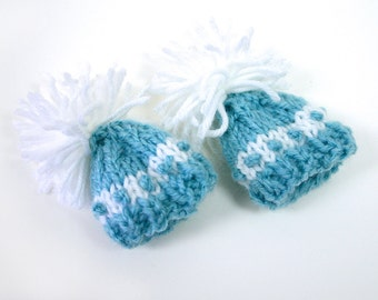 2 Turquoise Miniature  Hats- Knitted Mini Caps- Doll, Pets, Teddy Bears- 2 Inch Wide- White Pom Pom