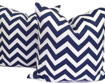 NAVY BLUE PILLOWS.Set 18x18, 20x20 or 16x16 inch.Pillow Covers.Decorative Pillows.Blue Pillow Cover.Navy Blue Pillow.Cushions.Chevron ZigZag