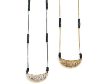 Woven Moon Necklace (Brass or Ox)