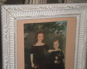"Vintage""Two Children"" Framed Photo, Eclectic Decor, Eisel Photo Frame"