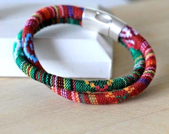 twisted colorful cotton cord double bangle bracelet | magnetic clasp bangle | southwestern print bangle bracelet | handmade by girlthree