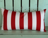new 12x22 red and white striped outdoor/indoor fabric Premier print, decorative pillow cover-gifts under 40-throw pillow
