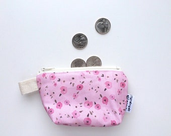 Floral Ditsy Divided Mini Flat Bottom Pouch / Coin Purse (handmade philosophy's pattern)