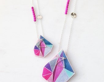 Triangle ART print pendant pink teal midnight silver coin and chain long Gift xo Next Romance Jewels handmade in Melbourne Australia
