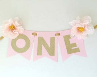 ONE High Chair Banner with Pink Luxurious Flowers for 1st Birthday Party.  Birthday Party Decorations. Pink and Gold Party