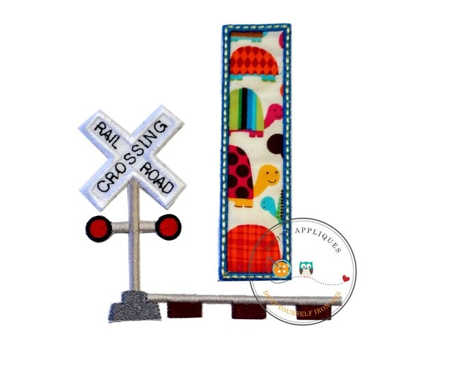 Railroad crossing blue trimmed birthday number one iron on applique,1st birthday machine embroidered fabric patch-DIY boutique fashions