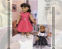 """PDF Pattern KDD21 """"Side Tie Collar Dress"""" -An Original KeepersDollyDuds Design, 18"""" Doll Clothes, Fits American Girl"""