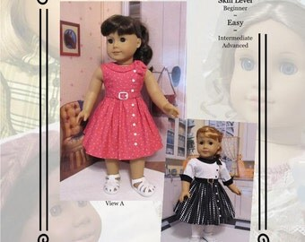 "PDF Pattern KDD21 ""Side Tie Collar Dress"" -An Original KeepersDollyDuds Design, 18"" Doll Clothes, Fits American Girl"
