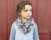 Toddler Infinity Scarf: Gray Aztec Sweater Knit