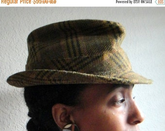 ON SALE Olive Green Plaid Vintage Mens Fedora Hat
