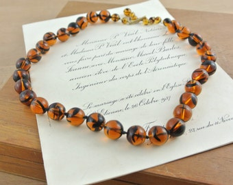 Gorgeous Vintage Deep Amber Glass Necklace & Clip On Earrings Set | Hand Knotted Beads |
