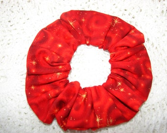 Red Swirl Stars sky Fabric Hair Scrunchie, women's accessories, gifts for her, womans scrunchies,  fancy holiday accessory, stars universe