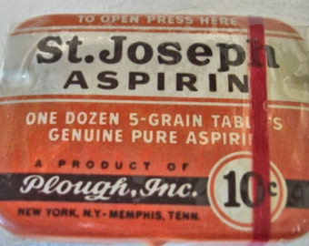 Vintage St. Joseph Aspirin Tin 10 Cents Size Full And Still in Cellophane New Old Stock