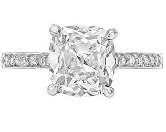 GIA Certified 2.00Ct Flawless Cushion Cut Diamond Engagement Ring 18K White Gold