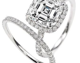 2.00 Ct GIA Asscher Cut D VVS1 Halo Diamond Engagement Ring Bridal Set Platinum