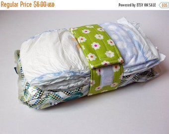 Clearance Green Diaper Strap - Green with White Flowers