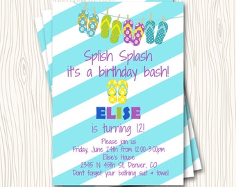 Flip Flop Blue Teal Turquoise Seafoam Pink Blush Stripe Beach Pool Swimming Birthday Party Invitation Card  - Any Color