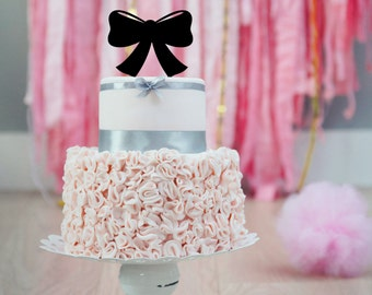 Bow Silhouette Shower Cake Topper | Baby Shower Cake Topper | Baby Girl | First Birthday | Bow Party