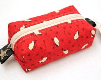 Mini Knitting Boxy pouch, Mini Box bag, small notions zipper bag, cosmetic case. Unique metal zipper pull. Little red sheep